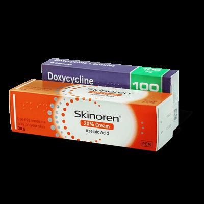 Doxycycline 100mg capsules (100) and Skinoren 20% cream (30g) drug image