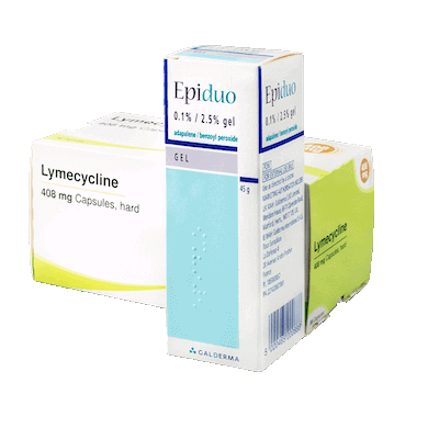 Lymecycline 408mg capsules (84) and Epiduo 0.1%/2.5% gel (45g) drug image